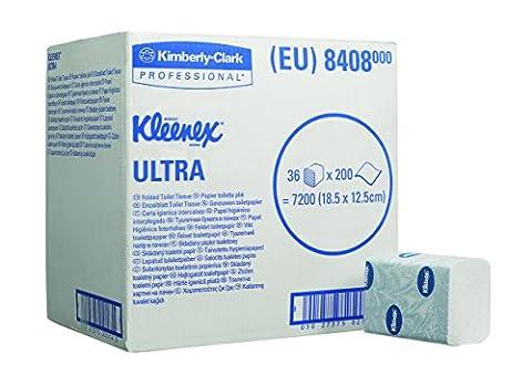 Kleenex 8408 Papier Toilette Plié ULTRA, 7200 Feuilles à 2 Plis, Maxi Pack, Code 8408, 36 Paquets de 200 Feuilles, Blanc (Pack de 36)