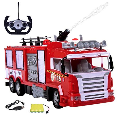 Diawell RC ferngesteuertes Feuerwehrauto Feuerwehr Auto Truck mit Wasserspritzer Licht Sirene inkl. Akku und Ladekabel*