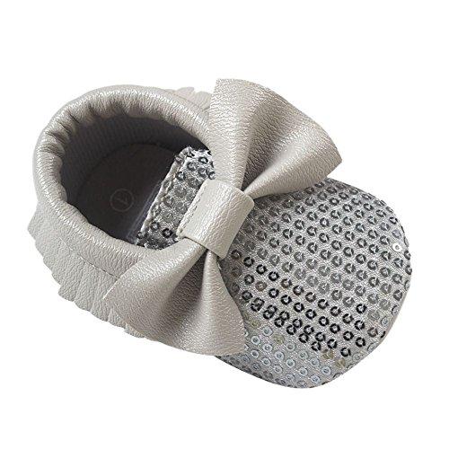 ESHOO Baby-Jungen-Mädchen-Troddel-Mokassin Prewalkers Bogen-weiche Sohle PU-Schuhe