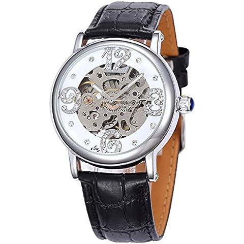 GuTe-scheletro meccanico automatico da orologio diamanti ecopelle, colore: nero - Womens Diamante Orologio Automatico