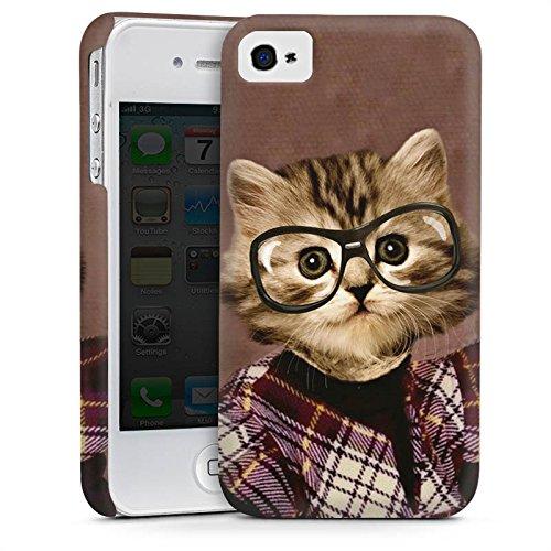 Apple iPhone 4 Housse Étui Silicone Coque Protection Chat Chat Animaux Cas Premium mat
