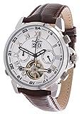 Lindberg & Sons Herren Automatikuhr (mechanische Uhr) mit skelettiertem Ziffernblatt - Skelettuhr - Skeleton - analoge Anzeige mit offener Unruh - Echtlederarmband und Edelstahlgehäuse 41 mm - LS13G33