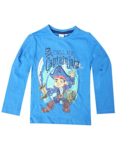 Disney Jungen Jake und die Nimmerland Piraten Printed Cotton T-Shirt Top Alter von 3 bis 6 Jahre (Sleeve Jake Shirt Short)