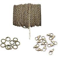 Cadenas de cruz trenzadas de metal de 4 x 6 mm y 20 piezas de cierre de langosta y 100 piezas de cadena de bisutería abierta para hacer bricolaje