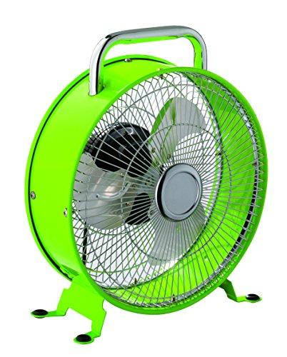 Reality Leuchten R022-15 Tischventilator im Retro Design, Metall grün lackiert, 2-Geschwindigkeitsstufen, max. 20W, Durchmesser: 26cm