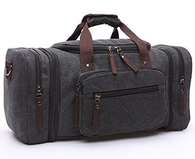 BAOSHA HB-21 Canvas Holdall Overnight Weekend Bag Travel Duffle Bag Weekender Bags Sports Shoulder Handbag Carry-on Bag