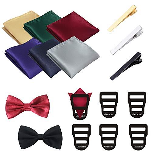 Coucoland Herren Fliege Satin Einstecktuch Krawattennadel Einstecktuch Halter Herren Accessoires Set zu Konfirmation, Anzug, Smoking (Feste Farbe) -