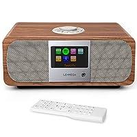 LEMEGA M3+ Music System with DAB+/DAB/FM Radio and Bluetooth, Internet Radio, Spotify, WiFi, Headphone-out, AUX, USB MP3, Clocks, Alarms, Sleep, Snooze, Colour Screen, Remote & App Control (Walnut)