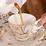 LOYWT Juego de tazas de café de porcelana de hueso con tazas de té para el hogar, juegos de platos, tazas de té para la tarde, tazas y cerámica, A