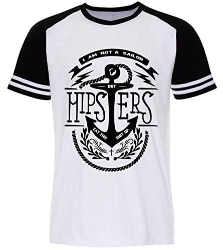 PALLAS Unisex's Sailor Anchor Hipster Vintage T Shirt White Sleeve Black