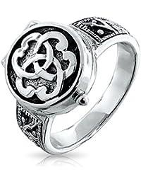Bling Jewelry Sterling Silver Triquetra Nudo celta veneno Medallón Anillo con grabado