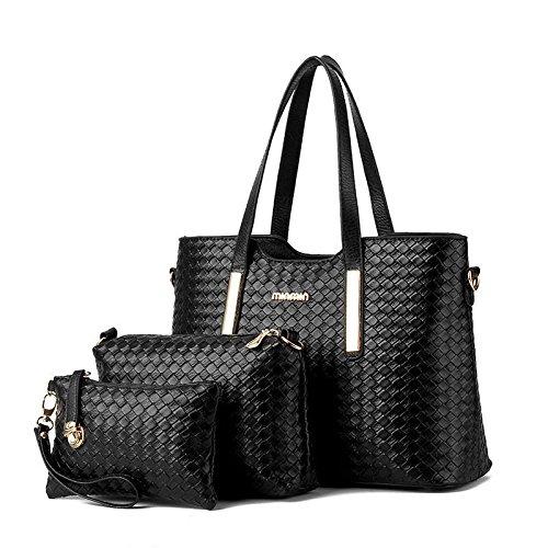 pu-pelle-tessuto-diagonale-borsa-borse-spalla-borsa-delle-donne-3-pezzi-black