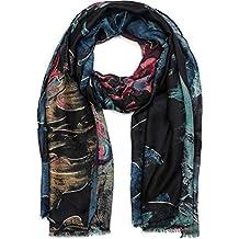 2ad99b9f0b8f styleBREAKER Châle pour femme avec motif abstrait à fleurs et franges,  écharpe d hiver
