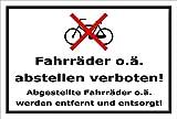 Schild - Fahr-räder o ä abstellen verboten - 30x20cm mit Bohrlöchern | stabile 3mm starke Aluminiumverbundplatte – S00050-011-A +++ in 20 Varianten erhältlich