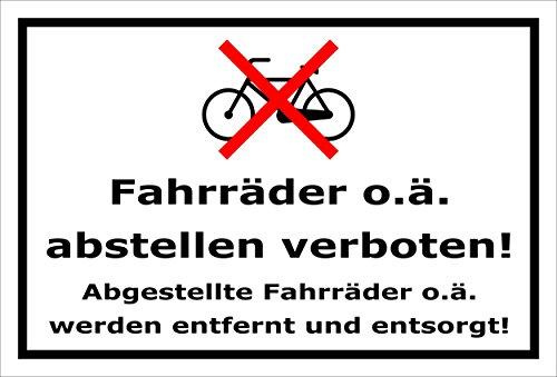 Melis Folienwerkstatt Schild - Fahrräder abstellen - 30x20cm | Bohrlöcher | 3mm Aluverbund - S00050-011-A -20 Varianten