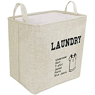 Laundry Basket Linen Laundry Hamper Bag, Collapsible & Convenient Home Organization Storage Bins, Waterproof Coating Storage Basket with Handles for Clothes Storage (14x10x13 inches)