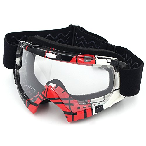 Motorradbrillen,Spohife Motocross Dirtbike Fahrrad Off-Road Schutzbrille Motorrad Goggles Crossbrille Sportbrille Wind Staubschutz Fliegerbrille Snowboardbrille Brille, Winddicht Staubdicht(Roter Rahmen, Transparente Linse)