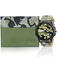 Relish Men's Army Day and Date Analogue Display Multicolour Wrist Watch and Wallet Combo