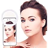 BlueBeach® 36 LED Clip On Spotlight Flash Selfie Cellphone Ring Light Supplementary Lighting with 3 Level Brightness for Smartphones (White)