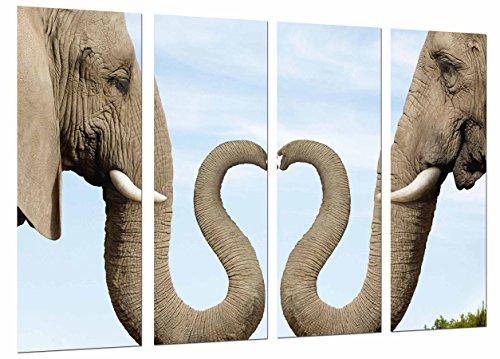 Cuadro Moderno Fotografico Original Animal, Pareja Elefantes, Corazon Trompas, 131 x 63...