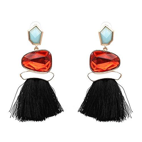 Ohrringe Set Quaste Ohrringe baumeln Ohrringe Erklärung Ohrringe für Frauen Mädchen Prom Casual Festliche Anlässe (Farbe : Schwarz) -