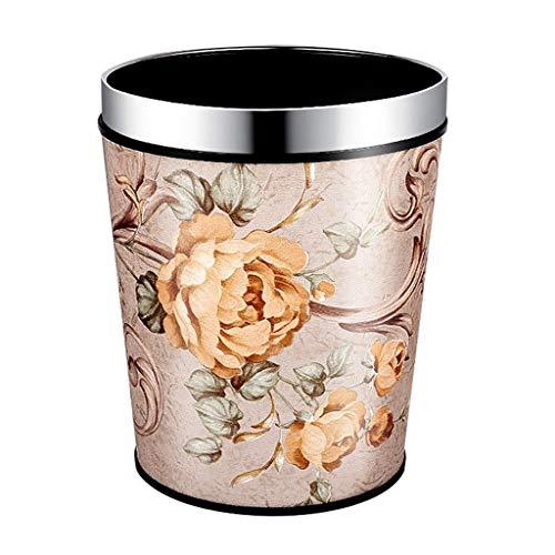 Nette Runde Blume Print Büro Mülleimer Papierkorb Home Küche Wohnzimmer Vorratsbehälter (Edition : C, Größe : M)