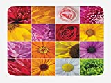 TKMSH Flower Bath Mat, Chrysanthemum Rose Sunflower Violet Colorful Flowers Romance Bridal Plants, Plush Bathroom Decor Mat with Non Slip Backing, Orange Yellow Pink,19.6X31.4 inch/50 * 80cm