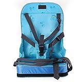 Stuhl mit Sicherheitsgurt für Kinder, zusammenklappbar und tragbar, Sitzerhöhung, Kindersitz Reise blau