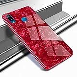 Ostop Cover Huawei P20 Lite,Brillante Elegante Lusso Conchiglia Modello Custodia Vetro Temperato Duro Posteriore Copertura Ultra Sottile Gomma Morbida Paraurti Antiurto Caso-Rosso