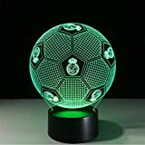 Xh&Yh 3D Real Madrid Football Stereo con 5 colores Change Touch Night Light LED Lámpara de mesa