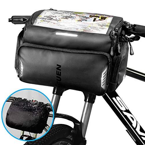 TEUEN Fahrrad Lenkertasche Wasserdicht Mountainbike Tasche Lenker Fahrradtasche mit Regenhülle, Gross Fahrrad-Vordertasche mit Touch Screen TPU-Sichtfenster (22 * 11 cm) für Smartphone GPS (Schwarz)