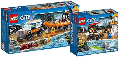 Preisvergleich Produktbild LEGO City 60165 - Geländewagen mit Rettungsboot + LEGO City 60163 - Küstenwache-Starter-Set