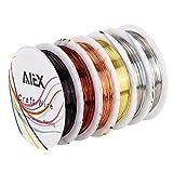 AIEX Schmuckdraht Kupferdraht Silberdraht Goldfaden für das Kunsthandwerk und Schmuck herstellung(6 Rollen 26 Spur)