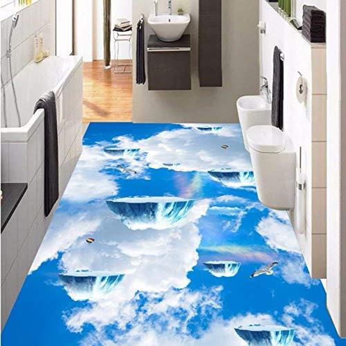 BZDHWWH Benutzerdefinierte Sky Suspension Island Fliegen Vogel Badezimmer Küche Gehweg 3D Stereo Boden Tapete Mural,250Cm X 350Cm -