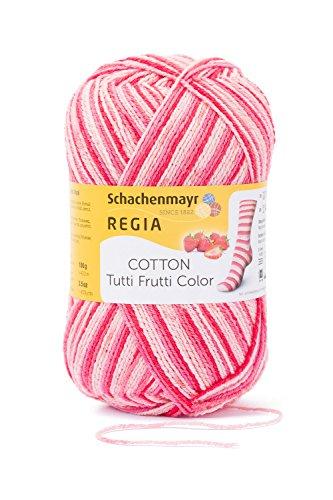 REGIA 4-fädig Cotton Tutti Frutti 9801621-02420 erdbeer Handstrickgarn, Sockengarn, 100g Knäuel
