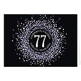 Große XXL (A4) Glückwunschkarte zum 77. Geburtstag - Konfetti Look Lila auf schwarz/mit Umschlag/Edle Design Klappkarte/Glückwunsch/Happy Birthday Geburtstagskarte/Extra Groß/Edle Maxi Gruß-Karte