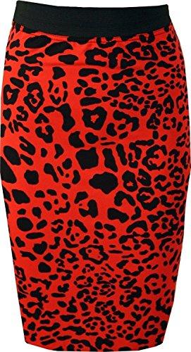Generic - Jupe - Crayon - Femme Multicolore Bigarré Taille Unique Red Leopard