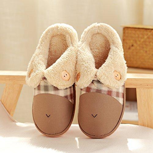 DogHaccd pantofole,Inverno pantofole metà femmina con thick Cartoon carino coppie home anti-slip caldo cotone pantofole Il caffè3