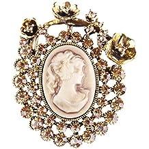 9d1530a65f2b Baiyao Strass Broche De Estilo Antiguo De Imitación Del Camafeo Dama De  Arco De La Cinta