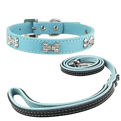 Newtensina Mode Hundehalsband und Leine Set Nette Bling Mädchen Knochen Welpen Halsbänder mit Hundeleine für Hunde