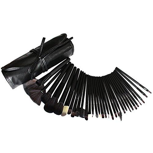 32 teiliges Kosmetik Make-up Pinsel Set von Kurtzy - Hochwertige Qualität professionelles Großes Make-up Pinsel Set in Kostenfreier Schönheits Rolltasche - Kosmetik Set für Frauen oder Mädchen (Gesicht Stoff Großes Stück)