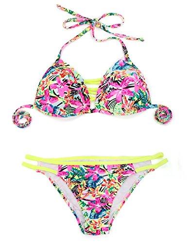 RELLECIGA Damen Bademode Push-up Triangel Bikini Criss Cross Jungle