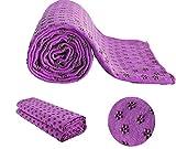 MaxYoga Toalla para Hacer Yoga - Yoga Towel - Antideslizante con Puntos de Gomas de Agarre. 61 cm x 183 cm. Ideal para Poner Sobre Esterilla. (Morado)