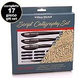 Juego completo de 3plumas de caligrafía de William Mitchell, juego de regalo con 17 piezas en total, plumas de flujo libre diseñadas para zurdos, aptas para todos los niveles