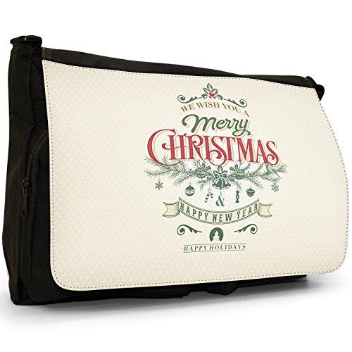 Elegante Vintage auguri di Natale–Borsa Tracolla Tela Nera Grande Scuola/Borsa Per Laptop Wish You Happy Holidays
