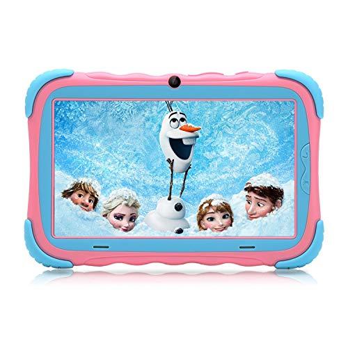 7 Zoll Android 7.1 Kinder Tablet IPS Display 1GB/16 GB Baby Edition PC mit WiFi Kamera Spielen Google Play Store Bluetooth GMS Zertifiziert Unterstützt Kids Proof Case (Pink)