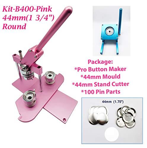 mm (1 3/4 Zoll) Pro Badge Maschine Button Maker-B400 + Form + 100 Teile + Blau Ständerschneider metrisches System rose ()