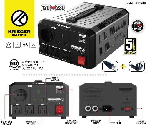 KRIËGER 1700 Watt Spannungswandler 110/120V - 220/230V mit CE/UL/CSA Zulassung -