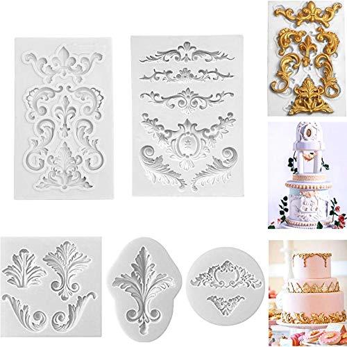 Molde de silicona barroco para fondant, diseño vintage con encaje y flores, para decoración de cupcakes, decoración de pasteles, glaseado, chocolate, hornear, azúcar, bricolaje