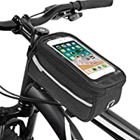 Fietstas Bike Frame Bag Fietstassen Cycling Bike Frame 6 Inch Phone Bag Holder Pannier Mobile Phone Bag Pouch #Z dljyy (Color : Black)